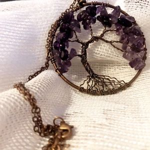 Genuine Amethyst Tree of Life Boho Necklace